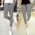 Los hombres en Blanco Y Negro para hombre pantalones casuales Leotardos del Estampado Vertical Stripe Pantalones SLIM FIT PANTALONES