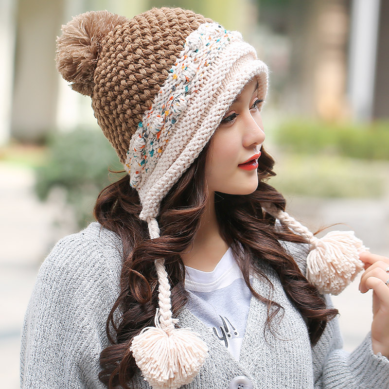 ad64ba261bb42 Female winter hat Korean tidal knit wool cap autumn and winter outdoor warm  wool hat ear hat lovely manual-in Skullies   Beanies from Apparel  Accessories on ...
