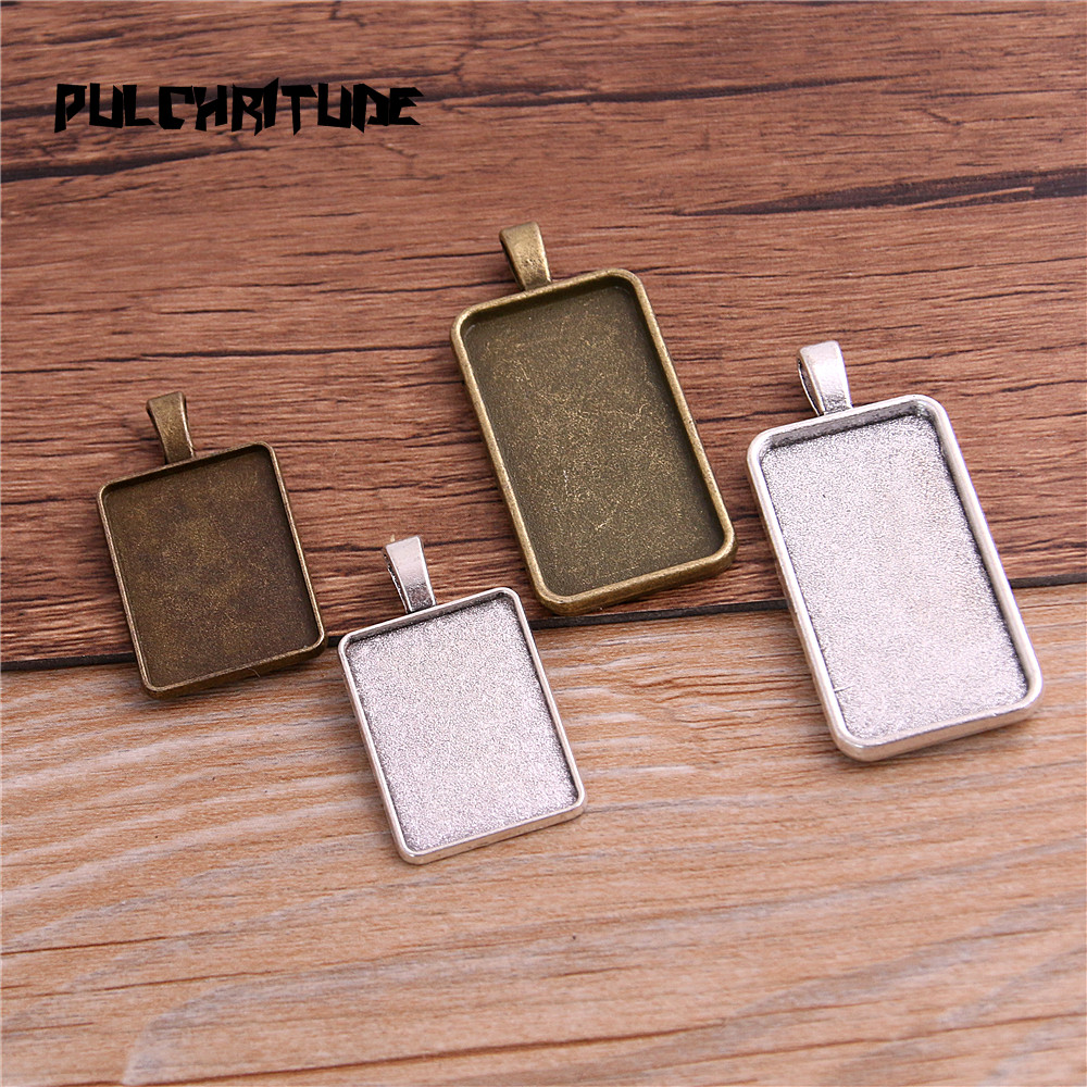 4pcs/lot two color cabochon pendant base tray blanks Inner 18*25mm jewelry rectangle bezels diy settings T6414