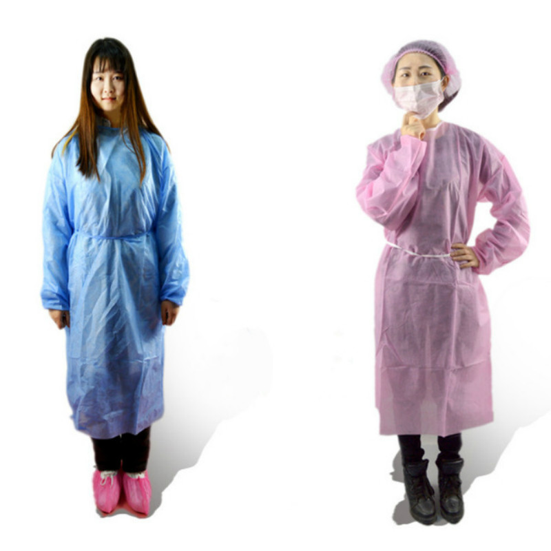 1PC Pink Disposable Surgical Gown Thin And Light Dust Clothes Overalls One Time Aprons Medical Clothing Cleanroom Garment