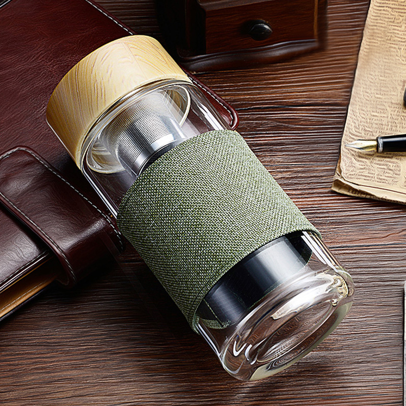 Travel Water Bottles with Tea Infuser Glass Tumbler Stainless Steel Filter Portable Sport Leak Proof Drinking Water for Bottle