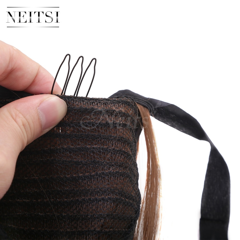 Купить с кэшбэком Neitsi Straight Long Clip In Hair Tail False Hair Ponytail Hairpiece With Hairpins Synthetic Hair 12#