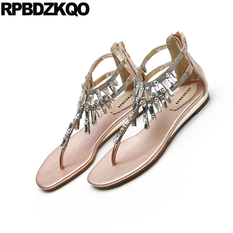 6480cceb54de4 ... Women Shoes Black Jewel Sandals Summer Crystal Strap Gold Rhinestone  Diamond Flat Ladies Elegant Thong T