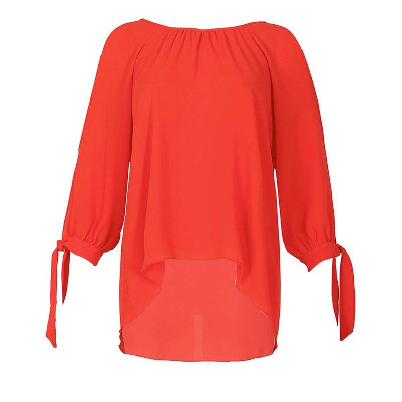 Plus Size Long Sleeve O-Neck Chiffon Tops Vintage 6XL 5XL XXXXL Summer Blouse Shirts 2019 Spring Casual Women Shirt