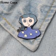 Homegaga Neil Gaiman Coraline cartoon Metal Enamel pins Trendy para backpack shirt clothes brooches badges for men women D1498