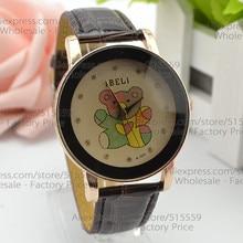 100 lot Fashion Leather Quartz Analog font b Watches b font Free shipping Lovely Bear font