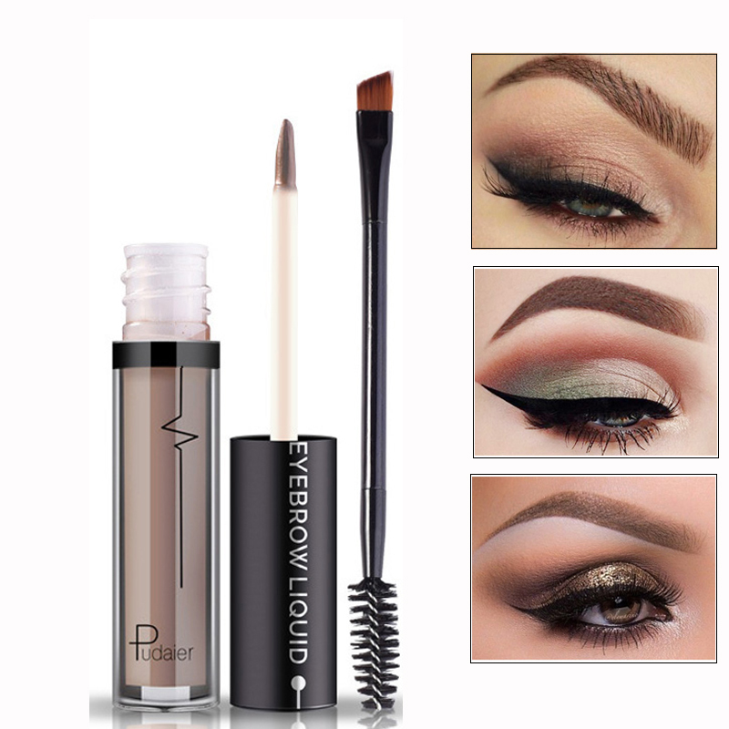 Professional Brand Eyebrrow with Brush Cosmetics Set 4 Color Pigment Brown Waterproof Liquid Henna Eyebrow Makeup Kit