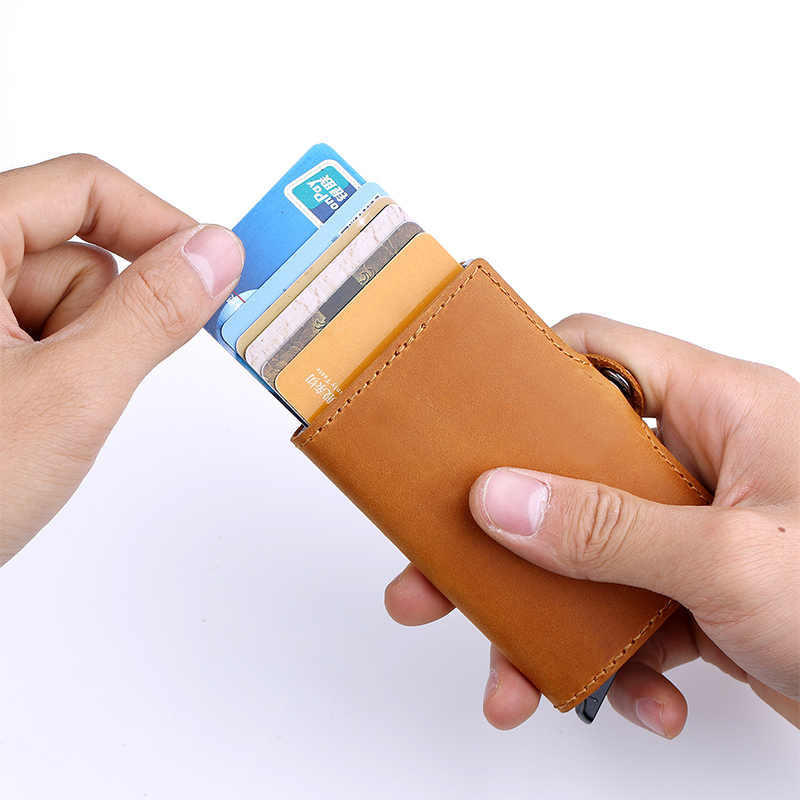 Funda de cuero genuino con soporte para tarjeta de crédito Anti Rfid cartera protectora aluminio hombres mujeres Metal soporte de tarjeta de identificación de negocios
