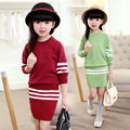 Girls Clothing Sets 2017 Winter Clothes Kids Striped Sweater Children Girl Knitted Pullover Sweaters 2pcs Sweater and Skirt Set