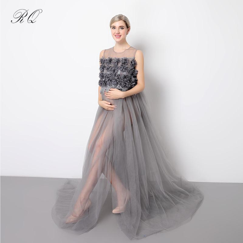 RQ 2017 New Fashion Sleeveless Solid Maternity Photography Props Dress Pregnancy Dress Long Maternity Dress for Photo Shoot Q141 smdppwdbb maternity dress maternity photography props long sleeve maternity gown dress mermaid style baby shower dress plus size