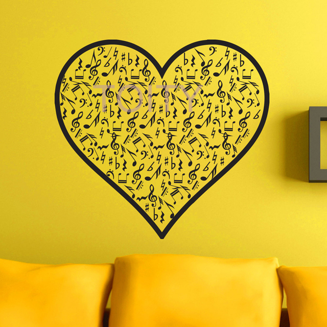 Vinyl Wall Decals Heart Note Notes Waves Musical Sign Treble Clef ...