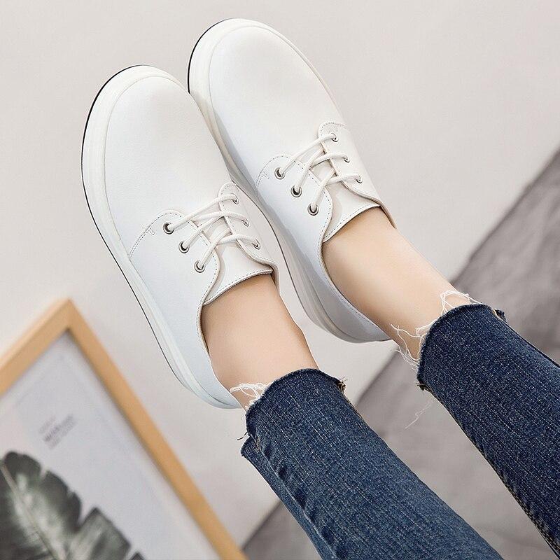 Femmes Talon Chaussures 4 Femelle Up Sneakers Femme Haute Cm Véritable De Blanc Black Plate Jzzddown forme Mocassins Toile Cuir En white Lace Luxe AUqwva5xn