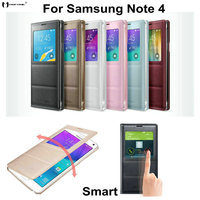 For Samsung Galaxy Note 4 N9100 Luxury View Flip Leather Back Cover Case Battery Housing Case