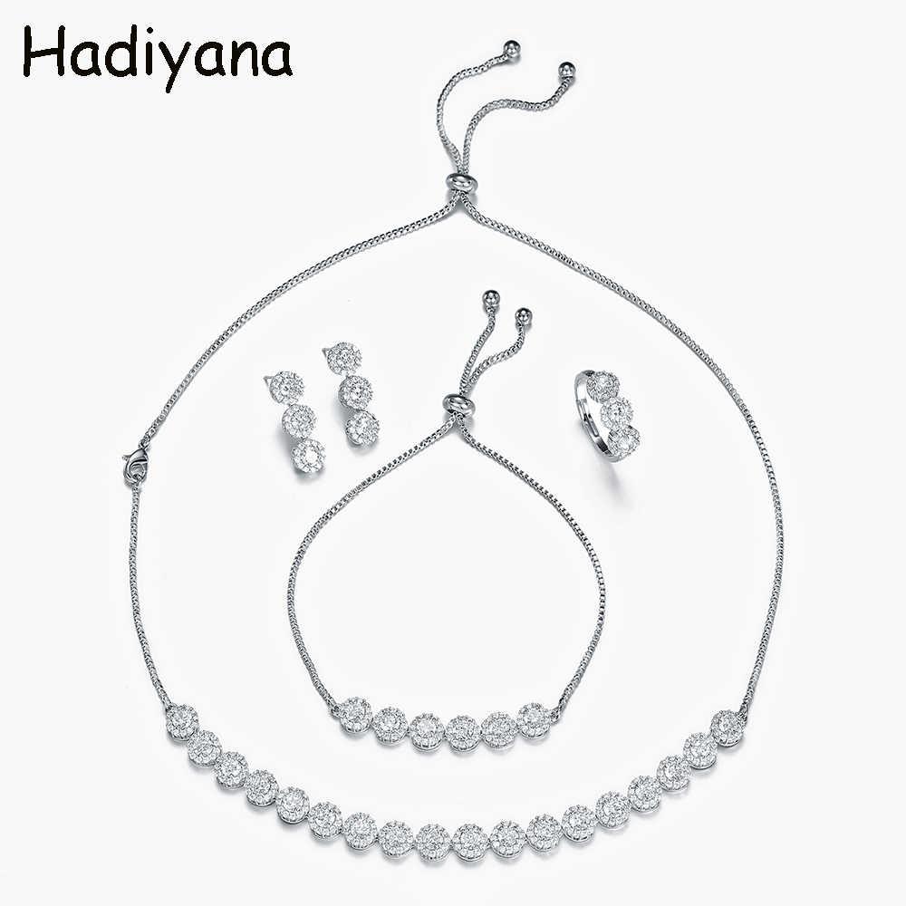 Hadiyana แฟชั่นชุดเครื่องประดับ 4pcs รอบ Cubic Zirconia สร้อยคอต่างหูแหวนสร้อยข้อมือดูไบแอฟริกันงานแต่งงานชุดเครื่องประดับ TZ8145