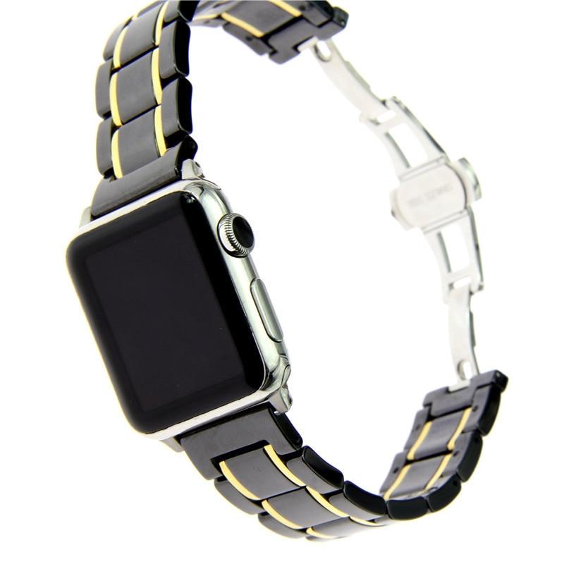 Luksusowe pasek zegarka zespół dla Apple Watch Series 4 ceramiki z ze stali nierdzewnej zegarek ze stali nierdzewnej pasek dla Apple obserwować serii 1 2 3 od zegarków 38 42mm w Paski do zegarków od Zegarki na  Grupa 1