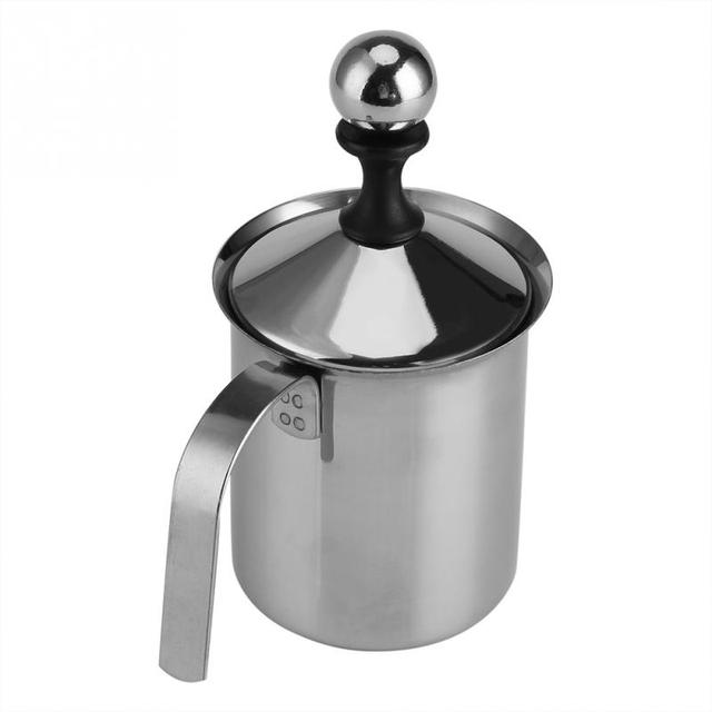 Original 400ML/800ML Manual Milk Frother Stainless Steel  Double Mesh Milk Creamer Milk Foam Mesh Coffee Foamer Creamer