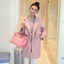 Women's fashion new winter warm loose big yards long wool coat loose pure color wool coat