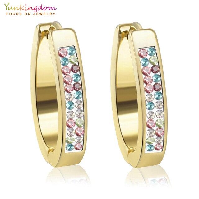 Colorful Crystals Stainless Steel Hoop Earrings for Women Jewelry Wholesale UE00