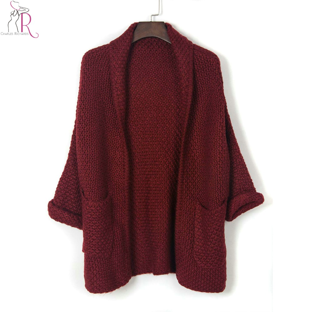 Women Burgundy Lapel Brief Cardigan Pocket Detail Open Front Long ...