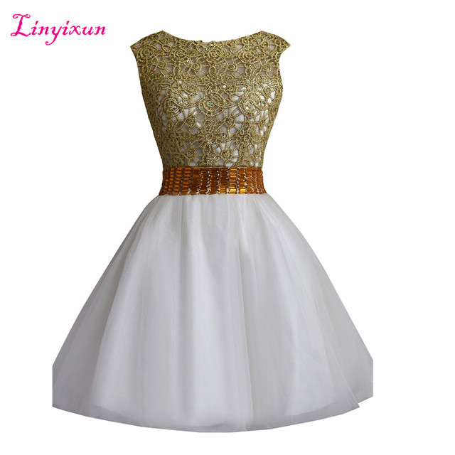 0098db6354b Linyixun Real Photo Elegant 8th grade prom dresses Scoop A-Line Homecoming  Dresses 2017 Appliques Beaded Sexy cocktail dresses