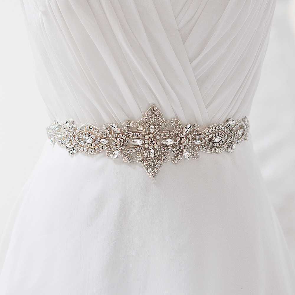 Topqueen s245 free shipping stock pure handmade bridal for Wedding dress accessories belt
