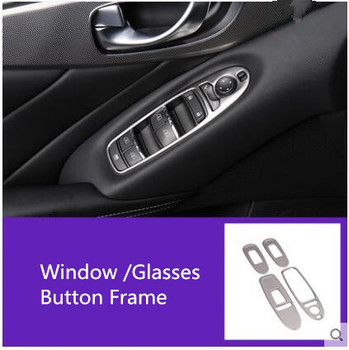 Stainless Steel Window Glasses Button Frame For Infiniti Q50L Z2EA1232