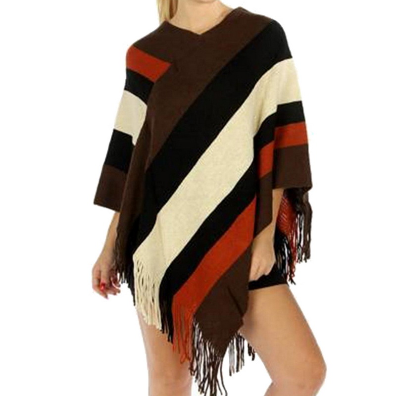 NIBESSER Pullover Sweaters Women Patchwork Winter Capes Sweaters Fashion Tassel Poncho Knitting Sweaters Female Knitwear Top Z30