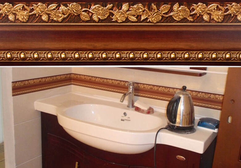 10400cm Bathroom Wallpaper Waterproof Waistline Wall Stickers Kitchen Toliet Paper Border Foot Line Self Adhesive In Wallpapers From Home