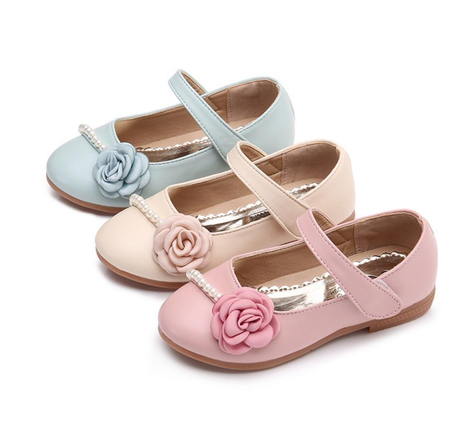 Princess Shoes Spring and Autumn 2017 All-match With Flower Soft Outsole PU Leather For Baby Girls & Toddler Child Size 26-35