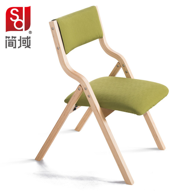 Jane Domain Wood Dining Chair Fabric Folding Chair Study Computer Training  Hotel IKEA Home Office Chairs