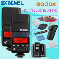 2x GODOX Mini TT350C TTL HSS max 1/8000s 2.4G Wireless X System Flash with X1T C Transmitter for Canon Camera 760D 800D 760D 77D