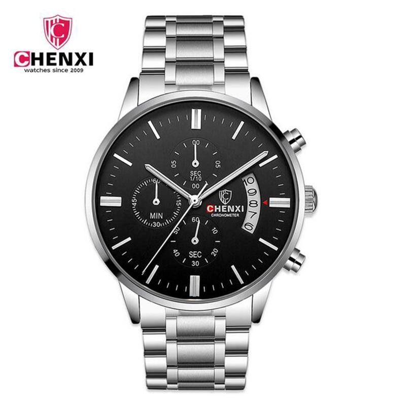 CHENXI Top Brand Quartz Watches Stainless Steel Waterproof Function Luxury Men Watch Date Clock Wristwatch Reloj