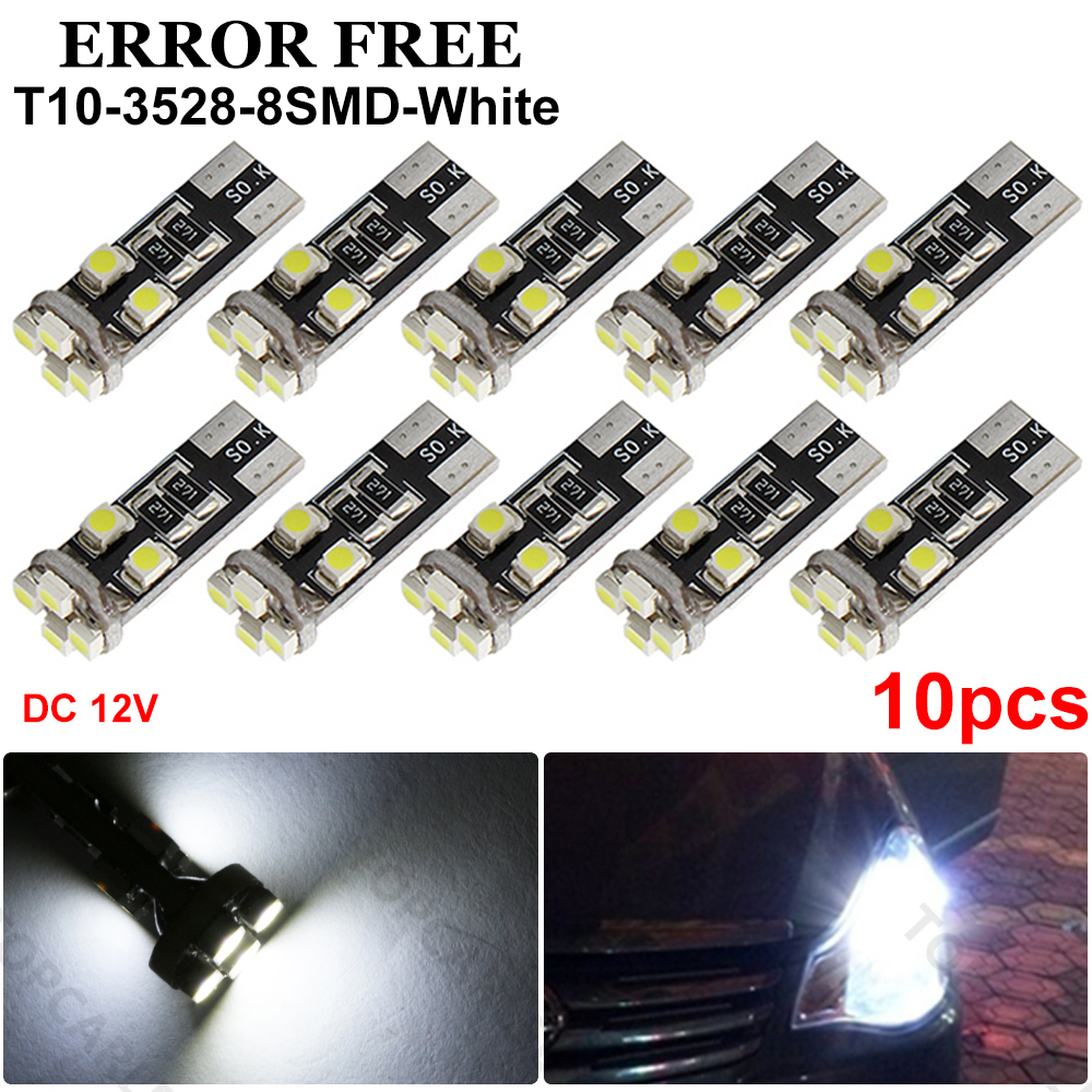 8 Pcs Canbus No Error Free White T10 8-SMD 1210 LED Side Light Lamp W5W 194 168