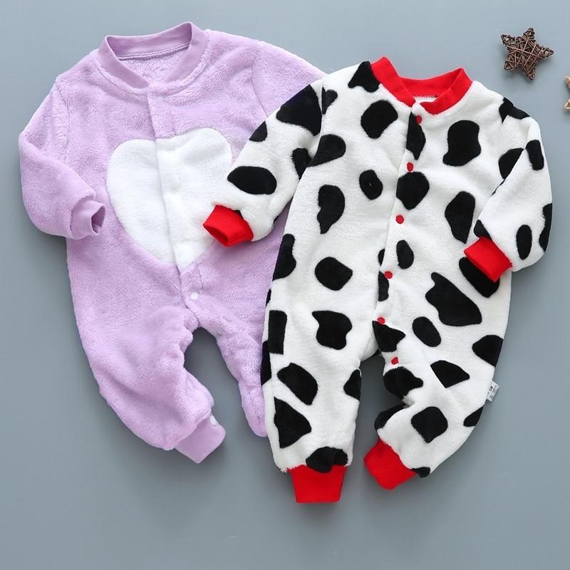 Russia new born pajamas coral fleece roupas de bebe girls infants baby