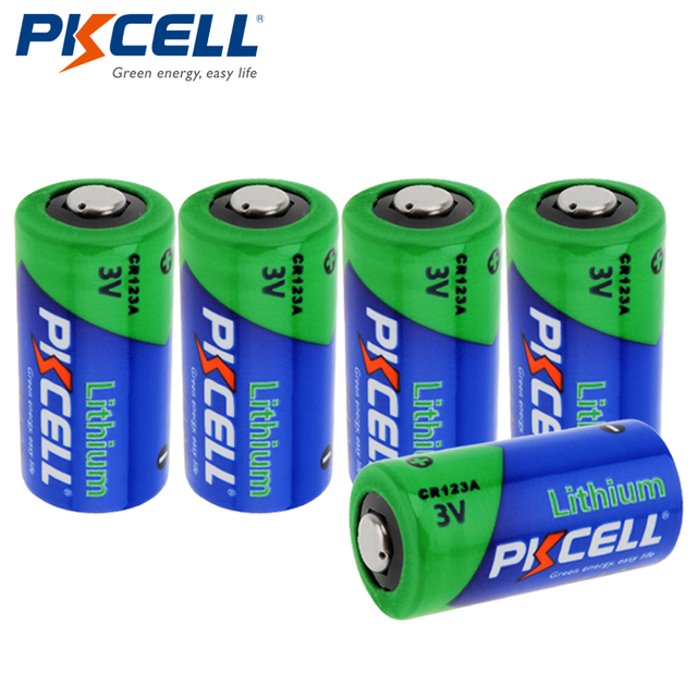 5 X Pkcell 3v Cr123a Non Rechargeable Batteries Cr123 123a 16340