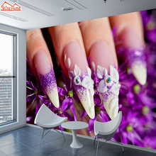 ShineHome-3d Nail Salon Wallpaper untuk 3 d Dinning Living Room Grils Gulungan Kertas Dinding Mural Wallpaper TV Toko Toko Rumah Decor(China)