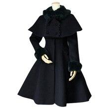 Женское зимнее пальто на заказ в стиле ретро, женское длинное пальто из двух частей с пончо, куртка