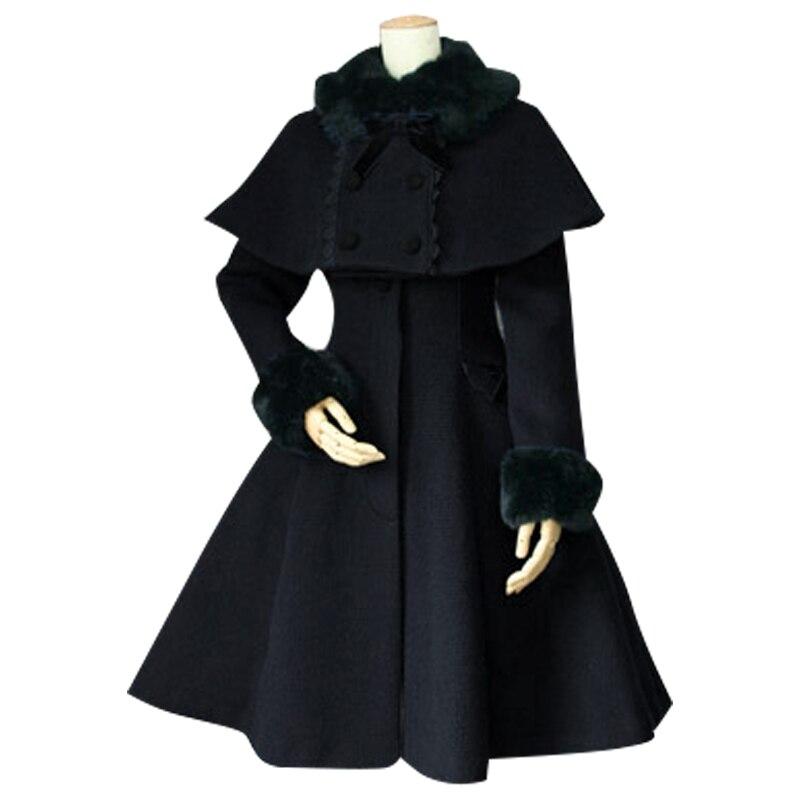 Индивидуальный заказ для женщин зимнее пальто Ретро стиль женский из двух частей длинное с пончо куртка