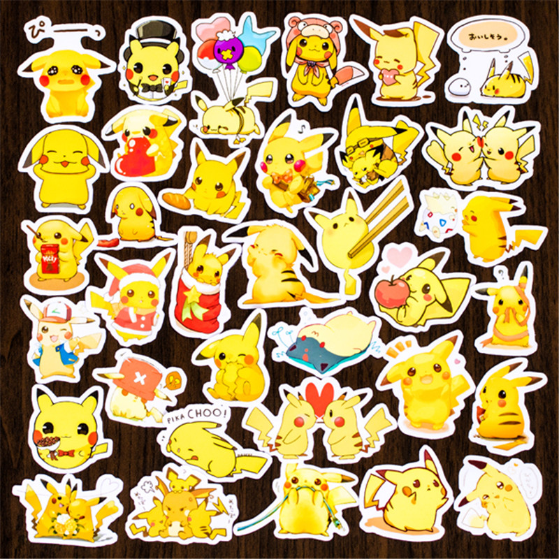 Hot Sale 120 Pcs Pokemon Pikachu  Sticker Mixed Funny  Decals Luggage Laptop Car Styling /Eason Stickers/DIY Scrapbooking