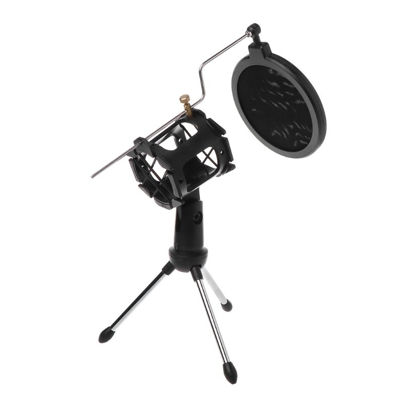 Professional Mic Stand Tripod Microphone Holder Adjustable Windscreen Acoustic Filter Bracket Cover Support Rod Shield Audio