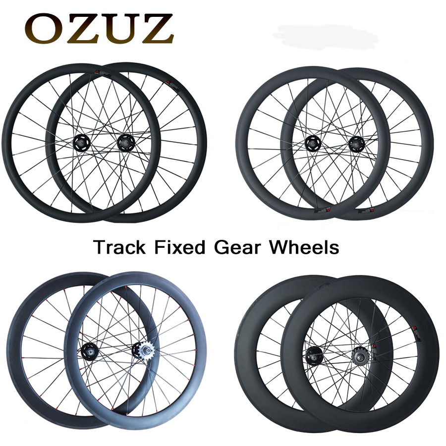 OZUZ Carbon Bike Wheels Track 17T Cogs 38mm 50mm 88mm Clincher Tubular Flip Flop Fixed Gear Single Speed 700C Bicycle Wheelset