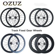 OZUZ carbon fiber wheels Track wheelset 17T Cogs 38mm 50mm 88mm Clincher Tubular Flip Flop Fixed