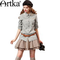 Artka Women S Autumn New Embroidery Patchwork All Match Shirt Casual Peter Pan Collar Long Sleeve