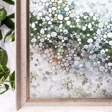 CottonColors PVC Window Films Cover Waterproof No-Glue 3D Static Cobblestone Decorative Glass Stickers Home Decor 45 x 200cm