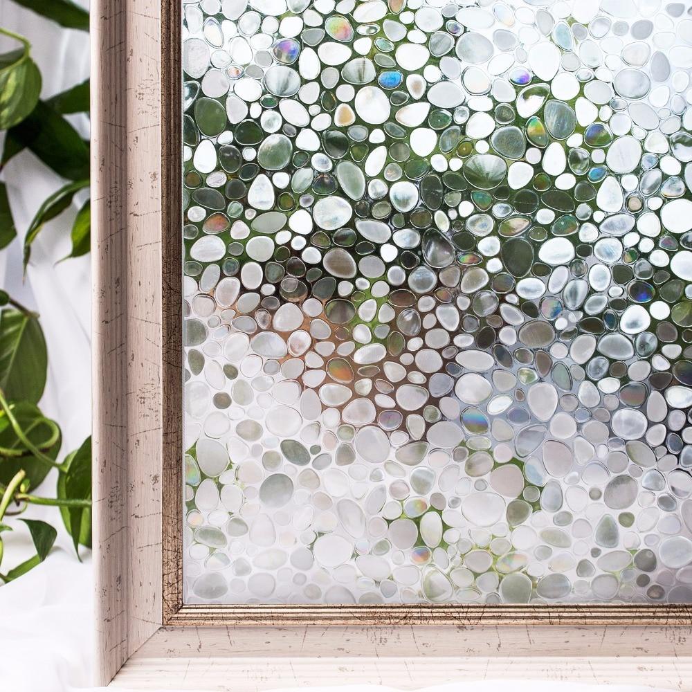 CottonColors PVC ventana películas cubierta impermeable No-pegamento 3D estática adoquines decorativos pegatinas decoración para el hogar 45x200 cm