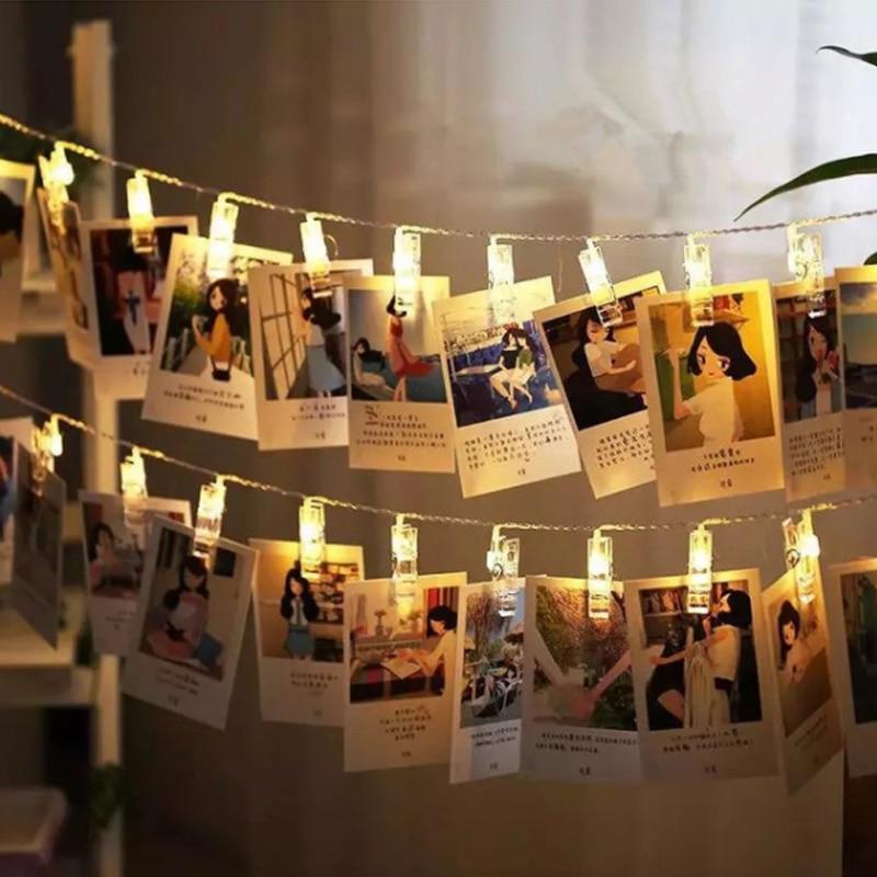LED String Light Fairy Lamp Starry Battery Card Photo Clip 1M/2M Garland Festival Christ ...