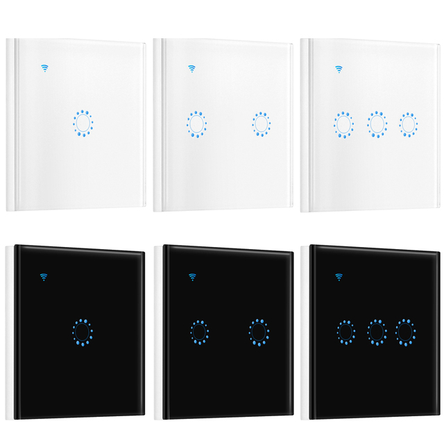 EU Standard Switch AC90 250V WiFi Touch Wall Light Switch Panel 1/2 ...