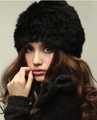 Hot selling Genuine Knit Rabbit Fur Winter Hat Nature Rabbit fur Cap Warm Women Headgear Headdress For Ladies Girls Wholesale a2