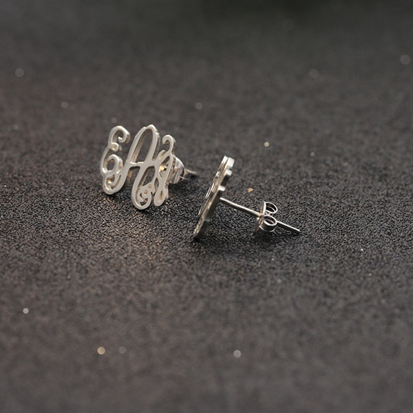 Personalized Monogram 3 Initals Earrings for Women 925 Solid Silver 3 Letters Handmade Earring Anniversary Gift Friends Gift