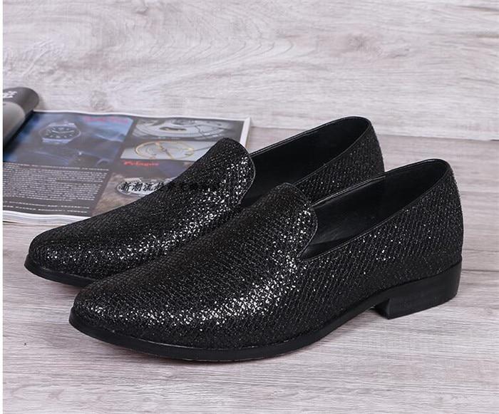 argent À Style Toutes Slip Noir Casual Noir Sélections Mode Nouveau Hommes Marée on Paillettes Les Chaussures Britannique Bout De Pointu AH0qn05fw